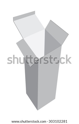 Editable Vector Template realistic high white box on a white background.