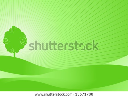 Editable vector tree background - ecology concept