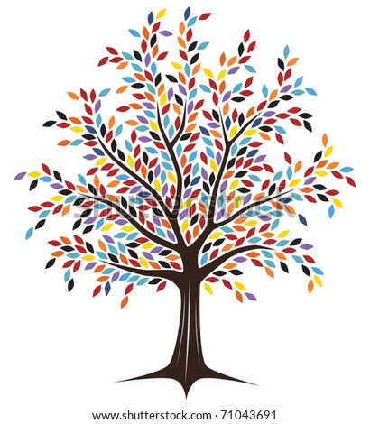 Editable vector tree design with colorful leaves - stock vector