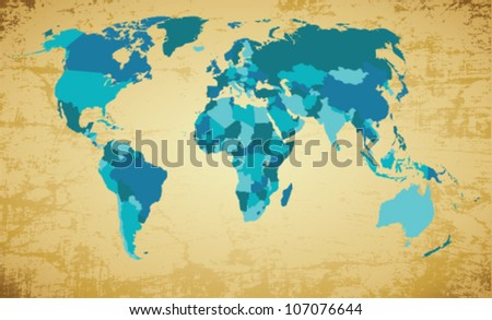 Editable vector world map on vintage stock vector 107076644 editable vector world map on vintage background gumiabroncs Image collections