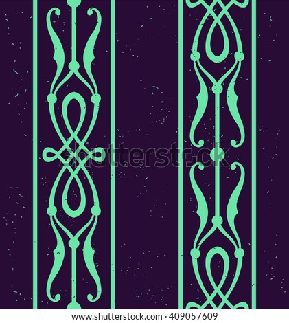 Editable vintage background seamless pattern, vector wallpaper. Old-fashioned striped texture  for invitation cards, website decoration and wrapping paper. Luara castle style. Dark purple and green. - stock vector