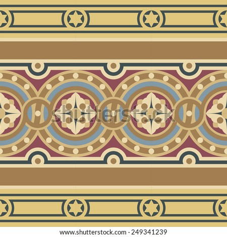 Editable vintage mosaic tile border set in ocher, brown, black, red, blue colors. Consists of one wide ribbon with flower in circles and two narrow ribbons with stars and stripes. - stock vector