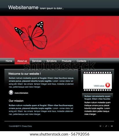 Editable web site template - stock vector