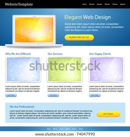 editable web site template - positive color scheme - stock vector