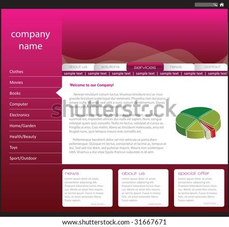 Editable web template - stock vector