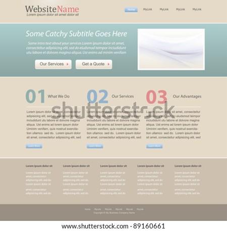 editable website design template - vintage color theme - vector - stock vector