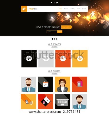 Editable Website Template. Tech / Futuristic style with flat elements  - stock vector