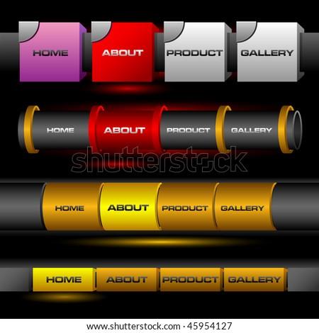 Editable website vector buttons - stock vector