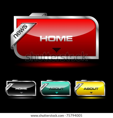 Editable website vector buttons with glossy and metallic effects - stock vector