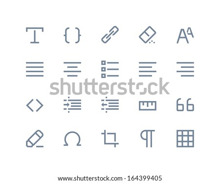 Editing and formatting icons. Line series - stock vector