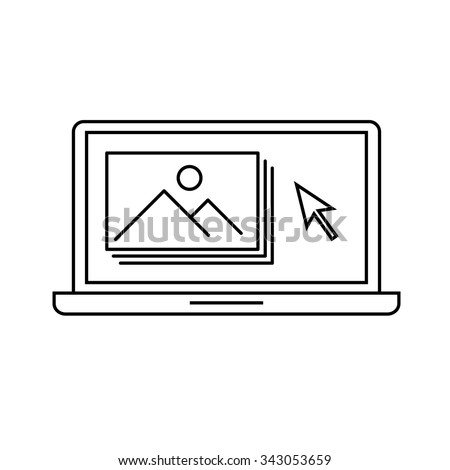 editing picture in photo editor software on laptop photography vector linear icon and infographic | illustrations of gear and equipment for photographers black isolated on white background - stock vector
