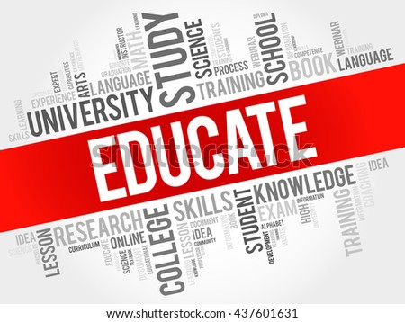 EDUCATE word cloud, education business concept - stock vector