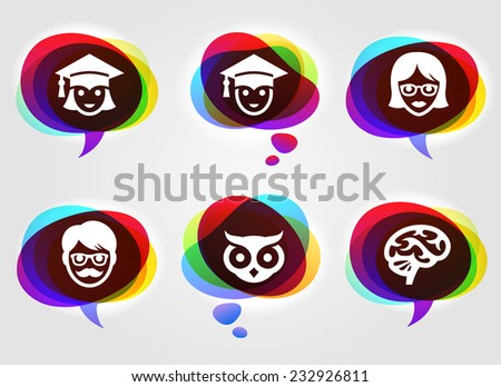 Education and Academic Professionals on Multi Color Speech Bubbles - stock vector