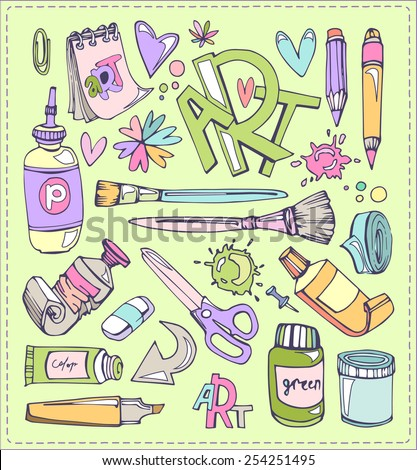 Education and art stuff set. Colored pencils and brushes paint blots. - stock vector