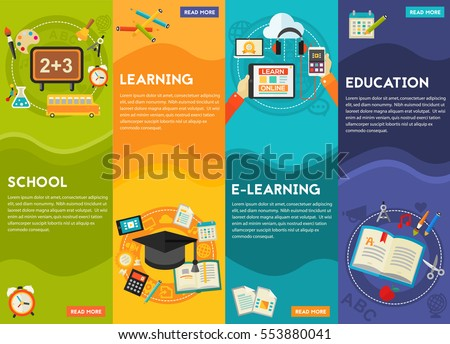 Education and E-learning Concept Banners