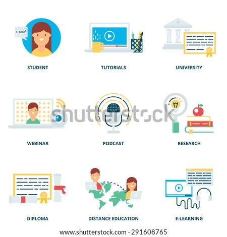 Education and e-learning vector icons set modern flat style - stock vector