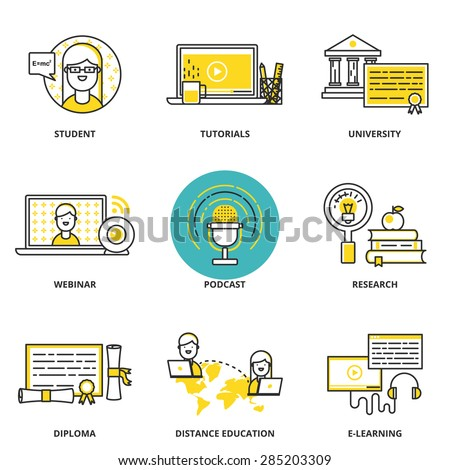 Education and e-learning vector icons set: student, tutorials, university, webinar, podcast, research, diploma, distance and online education. Modern line style - stock vector