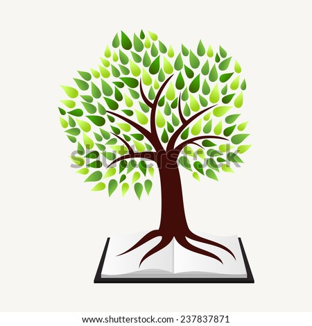 Education and learning concept with tree and book illustration background. EPS10 vector file organized in layers for easy editing. - stock vector