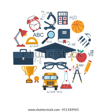 Education and learning concepts. Abstract circle with signs and elements of school subjects. Flat design, vector illustration. Education background. - stock vector