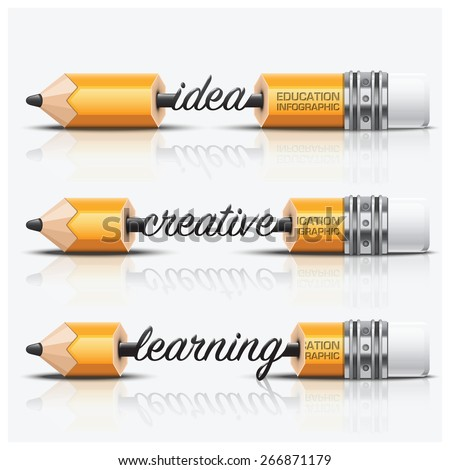 Education And Learning Step Infographic With Carve Pencil Lead Vector Design Template - stock vector