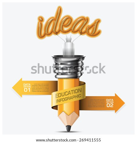 Education And Learning Step Infographic With Spiral Arrow Pencil Light Bulb Vector Design Template - stock vector