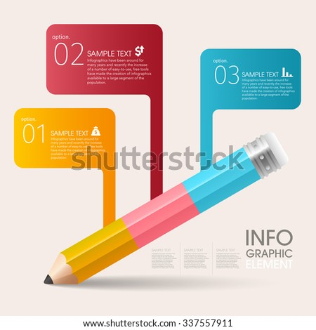 Education And Learning With flag Pencil Step Infographic - stock vector