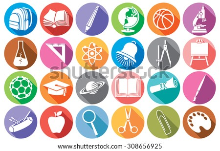 education and school flat school icons collection (diploma, pencil box, school compasses, bell, book, bag pack, globe, paint brush, pencil, abacus, school board, graduation cap, microscope, ruler) - stock vector
