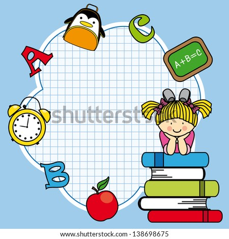 Education and school icon set. Space for text. Girl and books