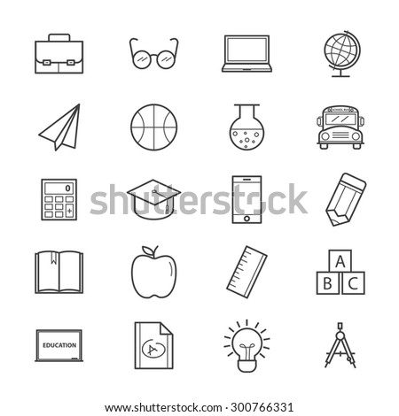 Education and School Icons Line - stock vector