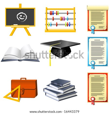 Education and School icons set - stock vector