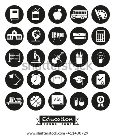 Education and school related round vector icons set. Collection of 25 symbols, negative in black circles - stock vector