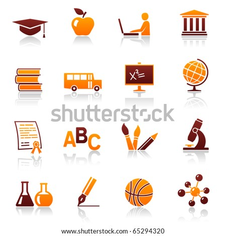 Education and school vector web icon set. College training and graduate symbols