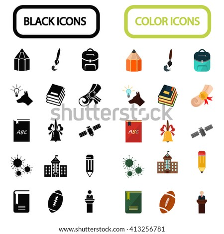 Education and science color icons set