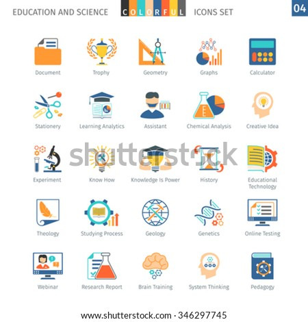 Education And Science Colorful Icons Set 04 - stock vector