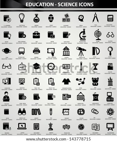 Education and Science icon set,Black version,vector - stock vector