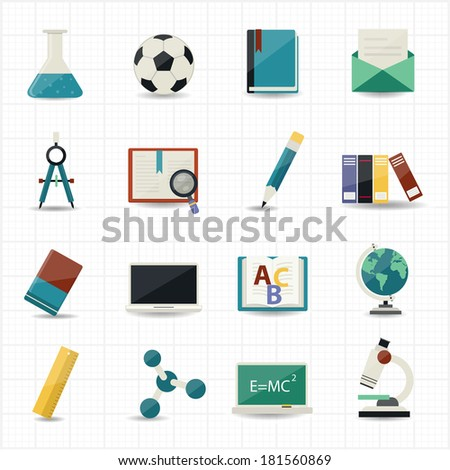 Education and Science icons - stock vector