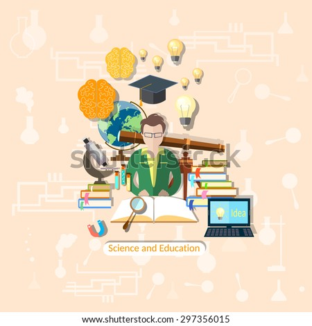 Education and science student study research experimentation lessons school  university college chemistry physics vector illustration - stock vector