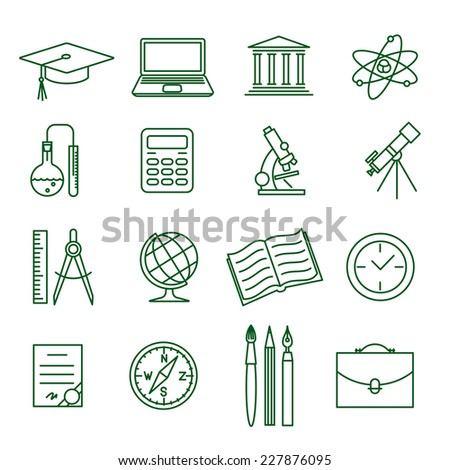 Education and science thin line vector icon set (1) - stock vector