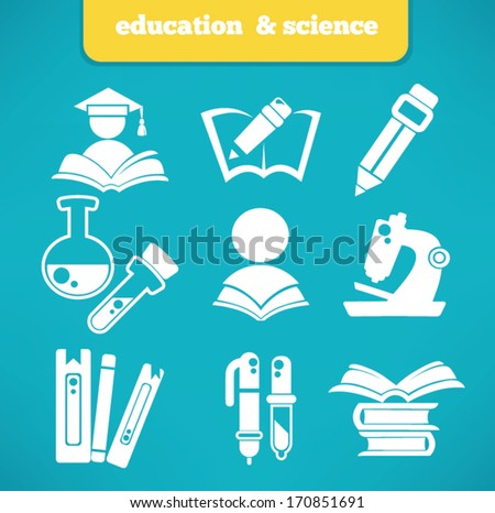 education and science vector symbols and flat icons collection - stock vector