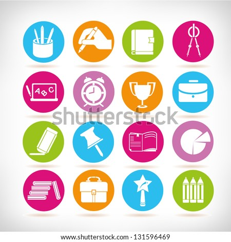 education and stationery icons set, colorful web icon, vector - stock vector