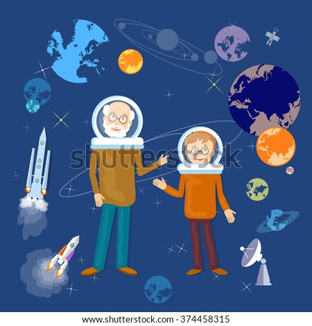Education astronomy lesson teacher and schoolboy back to school vector illustration - stock vector