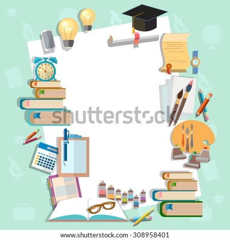 Education background diploma exams back to school college campus algebra mathematics graduation cup vector illustration  - stock vector