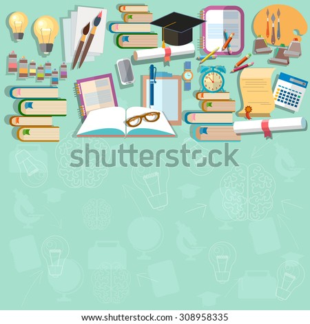 Education background diploma exams back to school college campus study student training vector concept - stock vector