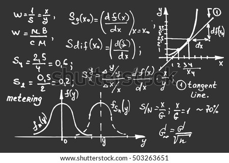 Education background. Math equations and scheme on school board. Vector hand-drawn illustration.