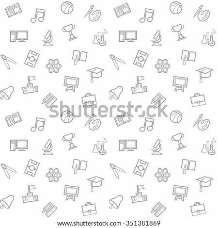 Education, background, seamless, white. Vector seamless white background from linear icon on the topic of teaching and learning.