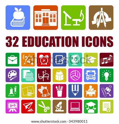 Education background set with 32 flat design icons for education, degree of specialist, basic and elementary study. Concepts for web banners and print materials. Vector illustration.