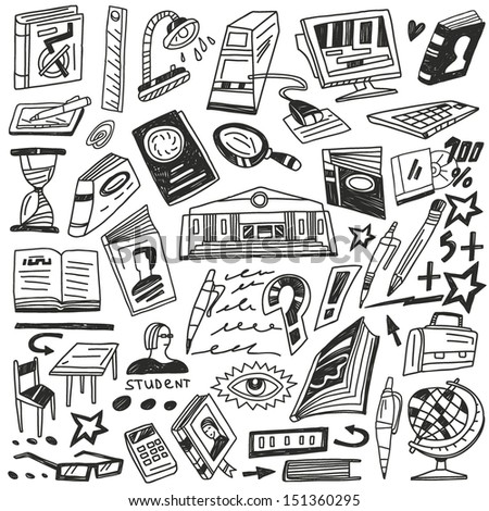 education , books - doodles - stock vector