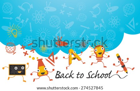 Education Characters Run Back to School Background, Kindergarten, Preschool, Kids, Learning and Study Concept - stock vector