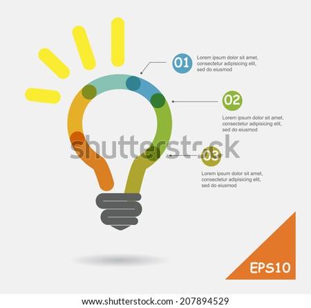 Education concept, Creative light bulb idea abstract infographics - stock vector