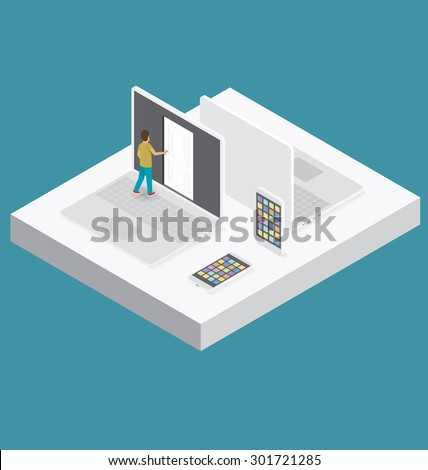 Education Concept. Door to the knowledge. Vector 3d flat isometric with student is opening the door - stock vector